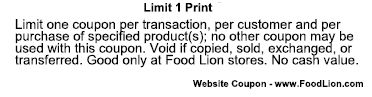 Food Lion Coupon Wording